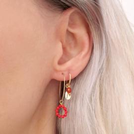 Rood Koraal Oorbel Hanger | 14K Gold Filled