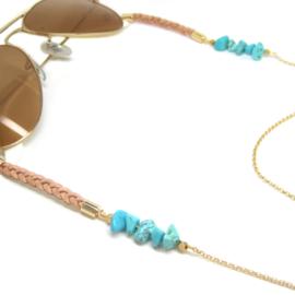 Sunny Chain Turquoise - Goud & Zilver | Zonnebrilketting Leer & Howliet