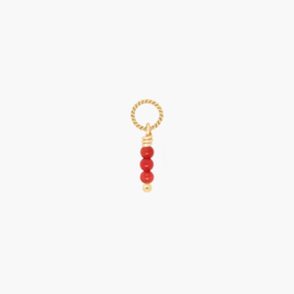 Rood Koraal Twisted Bedel | 14K Gold Filled