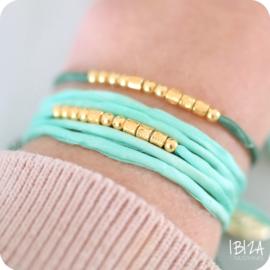 Morse Code Zijde Wikkel Armband   Goud