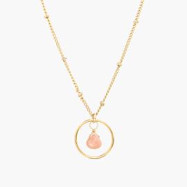 Baby in the Belly | Zwangerschapsketting Cirkel Maansteen - 14K Gold Filled