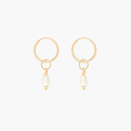 Twist Pearl Hoops | Oorringetjes Zoetwaterparel - 14K Gold Filled