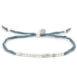 Morse Code Zijde Armband | Zilver