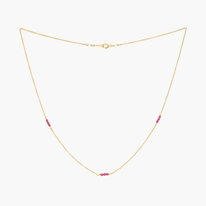 Granaat   Ketting - 14k Gold Filled