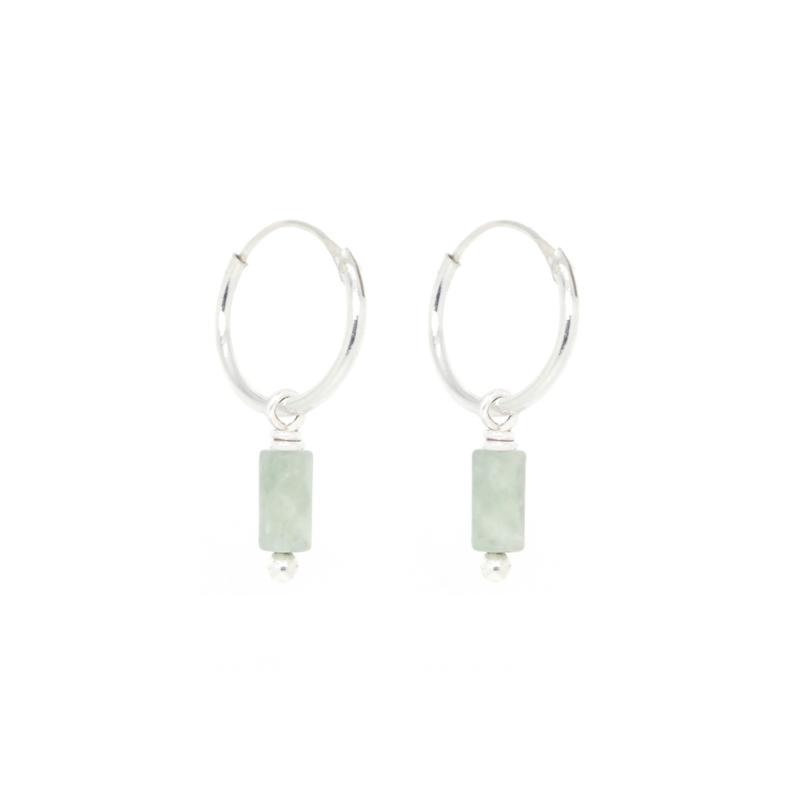 Jade Tube Hoops | Oorringetjes Jade Edelsteen - 925 Zilver