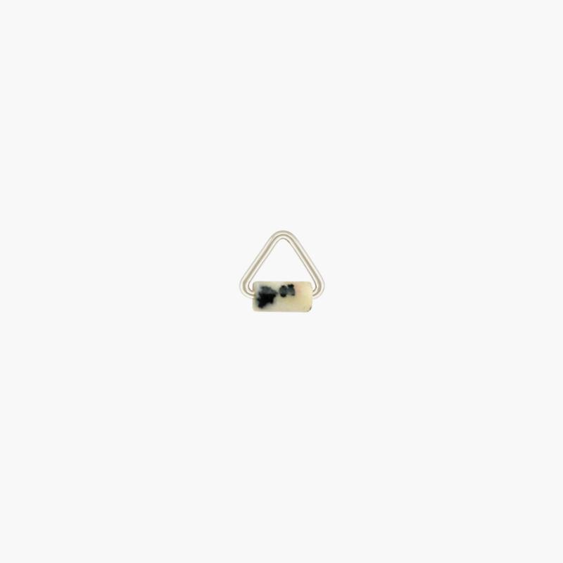 Dalmatiër Jaspis Triangle Oorbel Hangertje | 925 Zilver