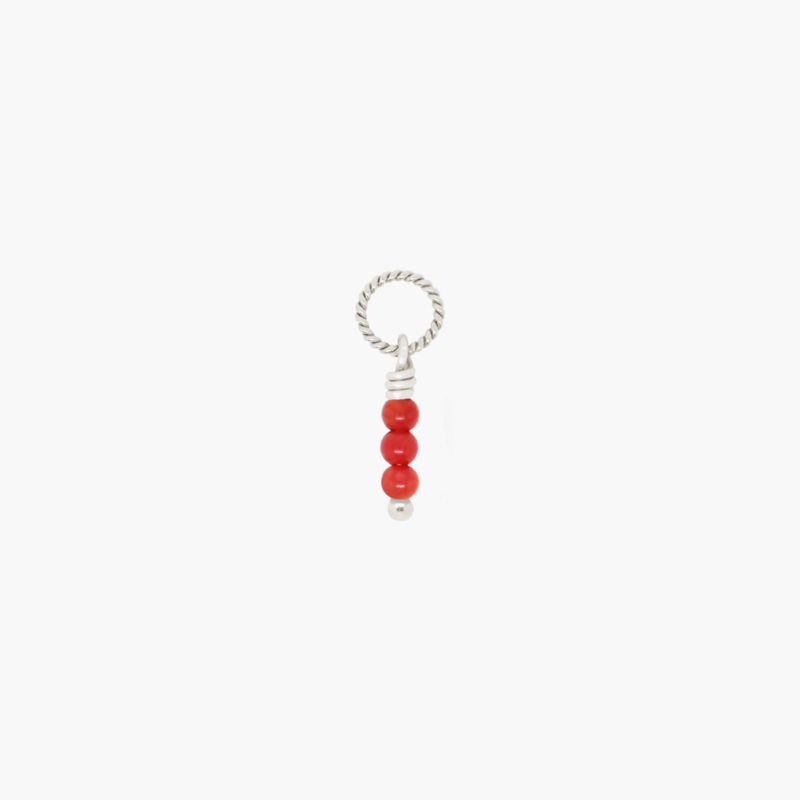 Rood Koraal Twisted Bedel | 925 Zilver