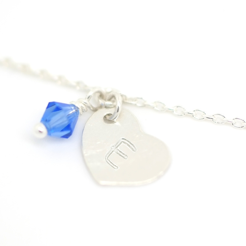 Initial Heart Birth Stone | Ketting Initiaal Hartje - 925 Sterling Zilver