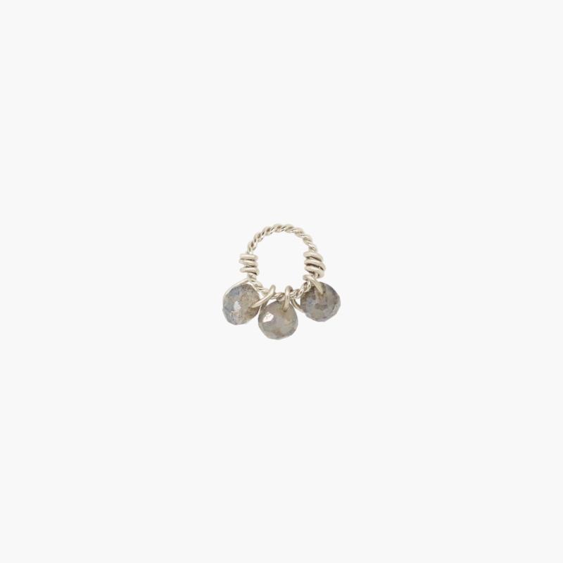 Labradoriet Twisted Oorbel Hanger | 925 Zilver