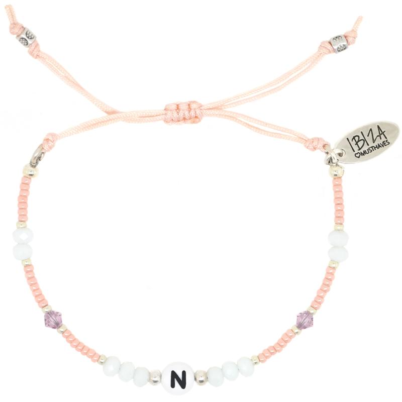 Peachy Initial Birth Stones | Glaskralen Letter Armbandje