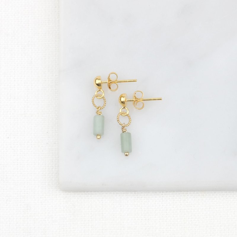 Jade Tube Studs | Oorstekers Jade Edelsteen - Gold Plated
