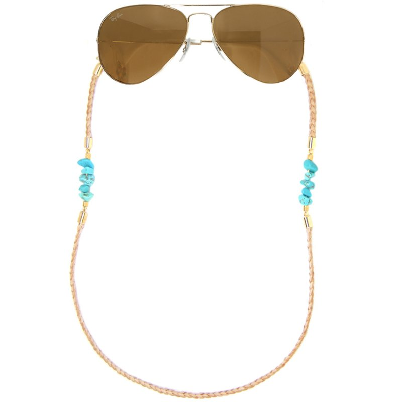 Sunny Chain Leather Turquoise  | Zonnebrilkoord Leer & Howliet