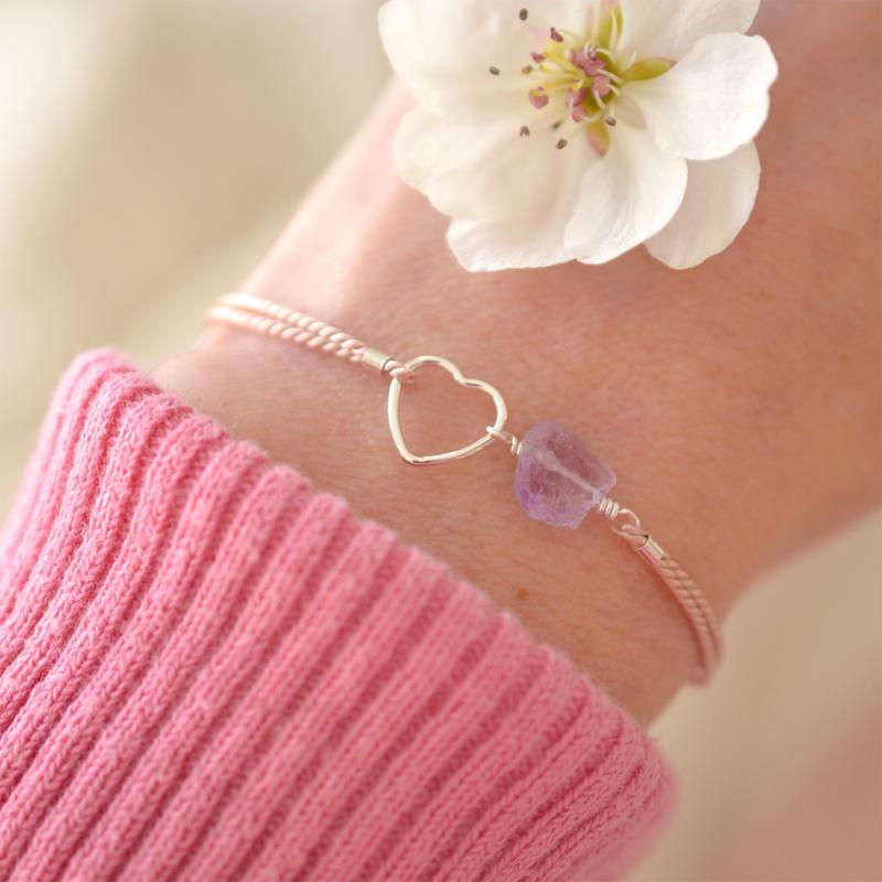 Blossom Birth Stone | Zijde Armband Hartje - 925 Zilver