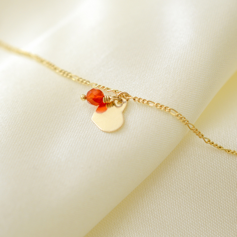 A Heart of Gold | Armband Carneool Hartje - 14K Gold Filled