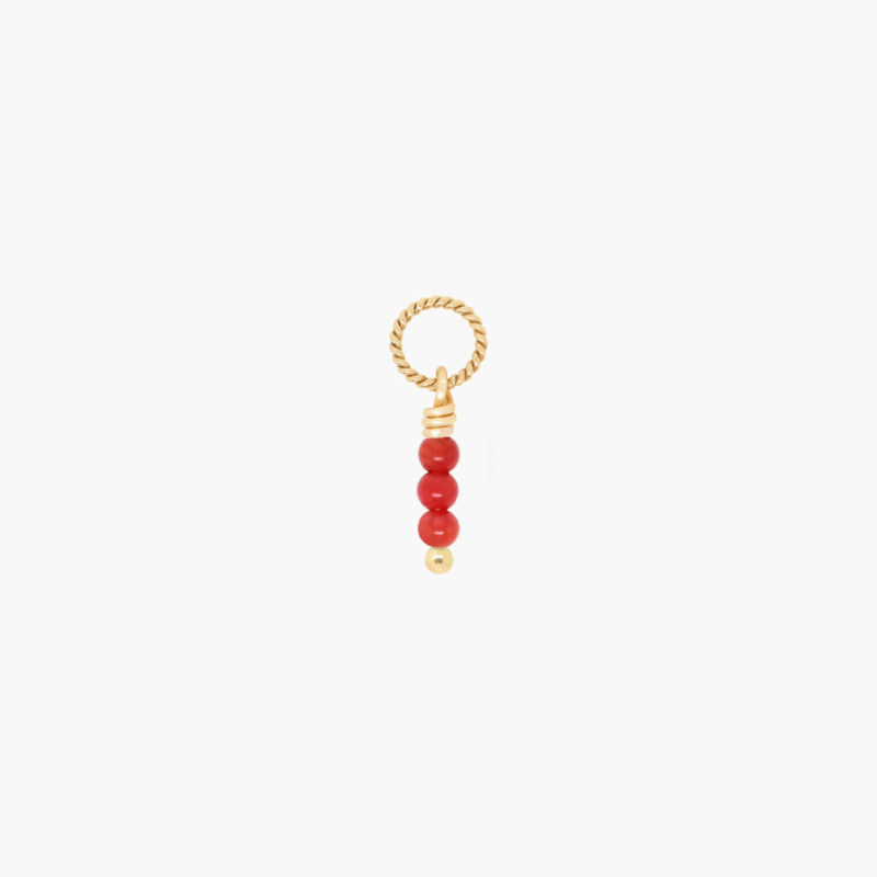 Rood Koraal Twisted Bedel | 14K Gold Filled