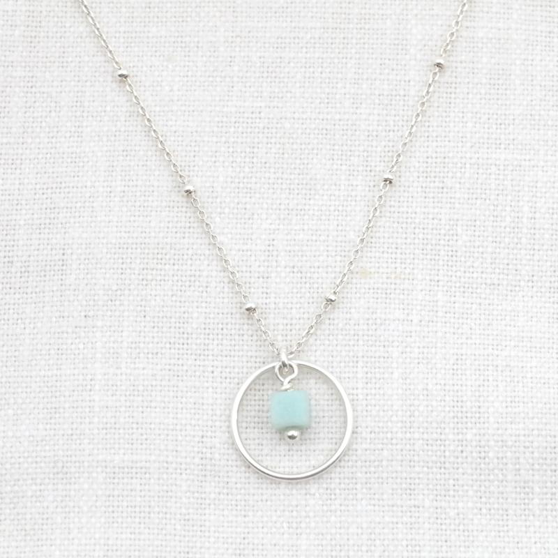 Innercircle | Ketting Cirkel Amazoniet - 925 Zilver