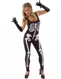 Skeleton jumpsuit zwart