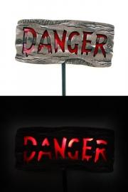 Tuinbord danger met licht en geluid