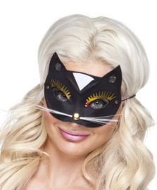 Oogmasker kat zwart deluxe