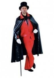 Satijnen cape zwart / rood