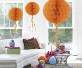 Honeycomb hangdeco oranje
