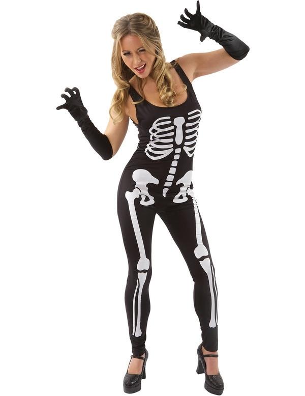 Skeleton jumpsuit zwart