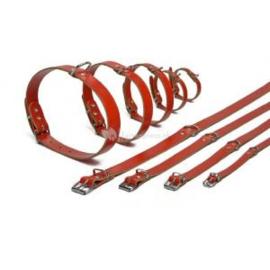 Lederen honden halsband rood 37cm x 12mm