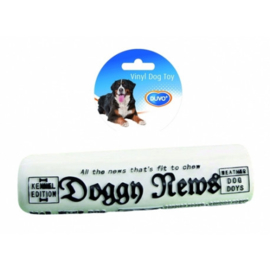 DOGTOY VINYL DOGGY NEWS 16X6.5X2.5CM WIT