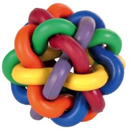 Veelkleurige bal knoop 7cm met bel
