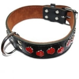 Leren Halsband Paws rood breed
