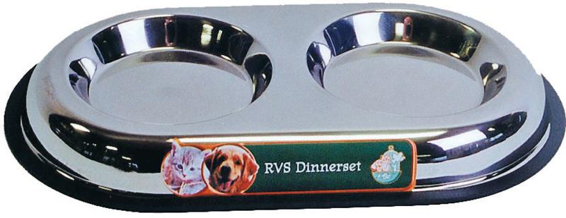 RVS dinner-set dicht, Ø 13 cm schotels.