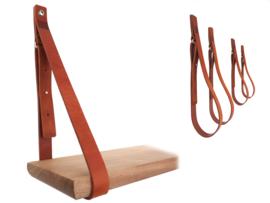 SHELV leren plankdragers cognac - 2 sets (4)