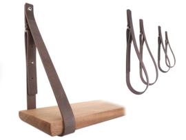 SHELV leren plankdragers grijs - 2 sets (4)