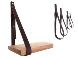 SHELV leren plankdragers donkerbruin - 2 sets (4)