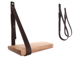 SHELV leren plankdragers donkerbruin (2)