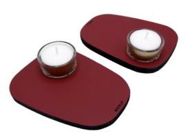 Waxinelichthouder PEBL - Ruby - set van 2