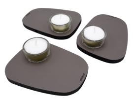 Waxinelichthouder PEBL - Lead - set van 3