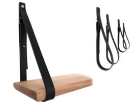 SHELV leren plankdragers zwart - 2 sets (4)