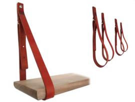 SHELV leren plankdragers donkerrood - 2 sets (4)