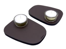 Waxinelichthouder PEBL - Chocolate - set van 2