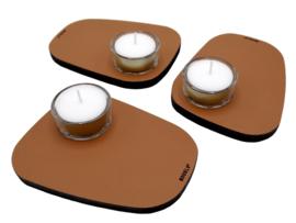 Waxinelichthouder PEBL - Cognac - set van 3
