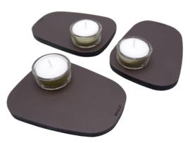 Waxinelichthouder PEBL - Chocolate - set van 3