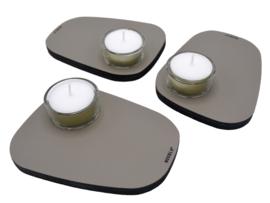 Waxinelichthouder PEBL - Clay - set van 3