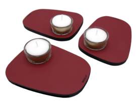 Waxinelichthouder PEBL - Ruby - set van 3