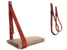 SHELV leren plankdragers donkerrood (2)