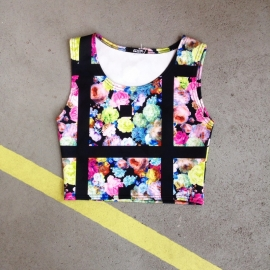 Graphic Flower Print Croptop