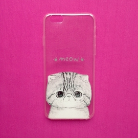 Illustrated White Cat Transparant Phone Case