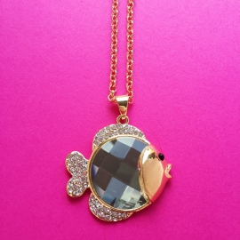 Gold Diamond Fish Necklace