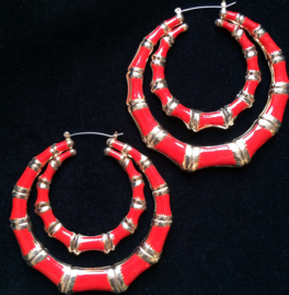 Red & Gold Double Bamboo Hoops XL