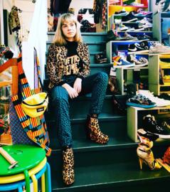 Leopard pants blue/green Topman